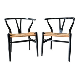 1960s Vintage Ebonized Hans Wegner for Carl Hansen Ch-24 Wishbone Chairs- A Pair For Sale