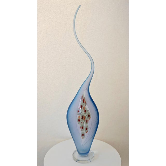 Turquoise Dona Modern Aqua Blue Art Glass Sculpture Vase With Red and Yellow Murrine For Sale - Image 8 of 13