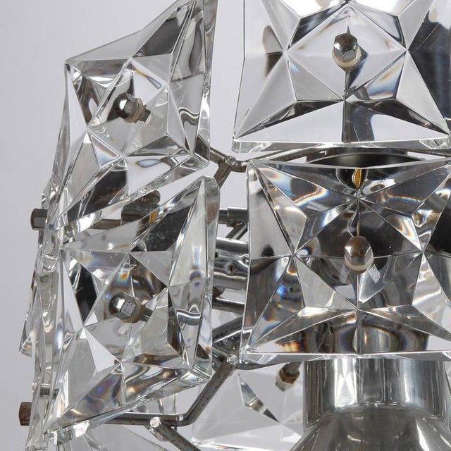 1970s Kinkeldey Crystal Fixture with Chrome and Nickel Base For Sale - Image 5 of 6