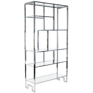 Mid-Century Modern Chrome & Glass Etagere
