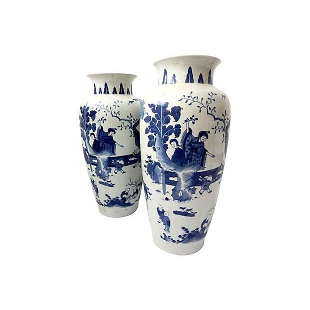 Hand-Painted Blue & White Vases, Pair - Image 6 of 9