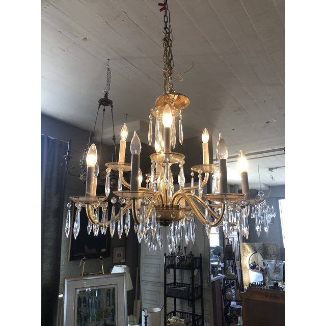 Mid-Century Modern 1950s Mid-Century Modern Amber Murano Glass Two Tier 12 Light Chandelier For Sale - Image 3 of 13