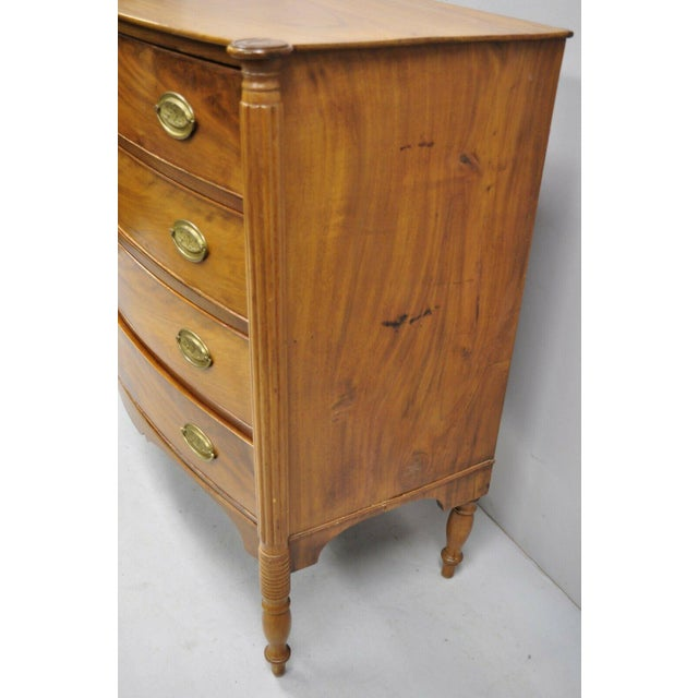 19th Century Sheraton 4 Drawer Mahogany Bow Front Chest Of Drawers For Sale - Image 10 of 13