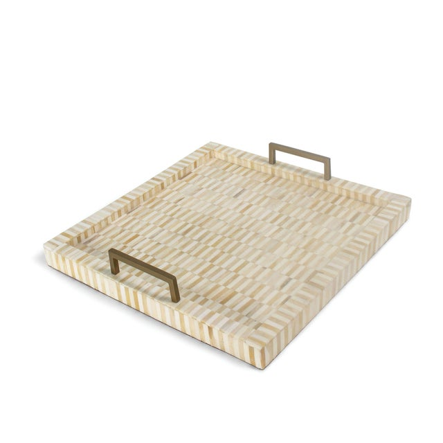 Nevis Square Multi-Tone Bone and Brass Tray For Sale In Detroit - Image 6 of 6
