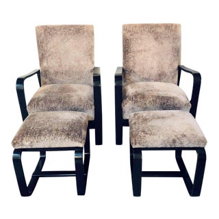 Rare Art Deco Pair of Giuseppi Pagano Pogatschnig Bentwood Armchairs & Ottomans For Sale