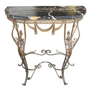 Diminutive Stylish 20's Italian Black Marble Top Wrought Iron Console Table For Sale