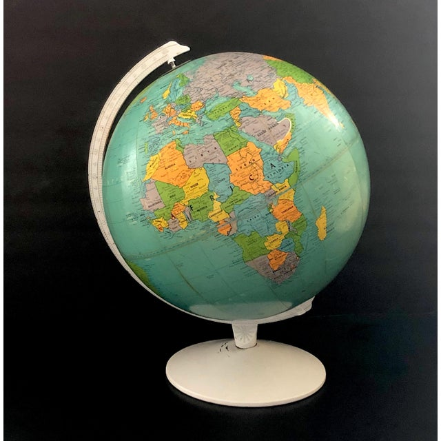 1970s Vintage Blue Replogle Table Globe With White Base For Sale - Image 13 of 13
