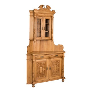 19th Century Antique Highly Carved Danish Pine Corner Cupboard For Sale