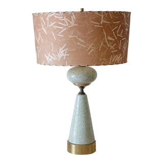 1950s Mid-Century Modern Ceramic Mint Green Lamp With Fiberglass Shade For Sale