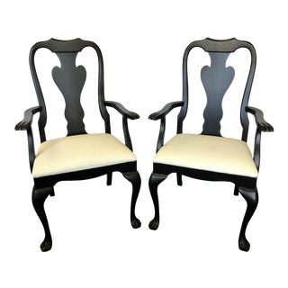 Queen Anne Arm Chairs With Matte Black Finish and Faux Leather Upholstery- a Pair For Sale
