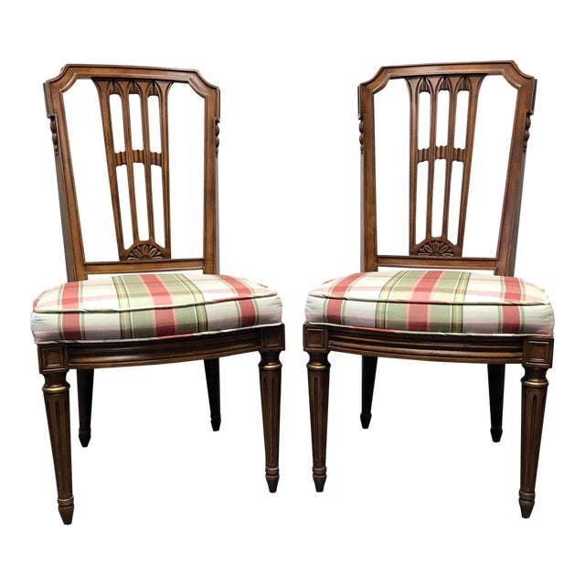 HENREDON Capri Mid Century Italian Provincial Neoclassical Dining Side Chairs - a Pair For Sale