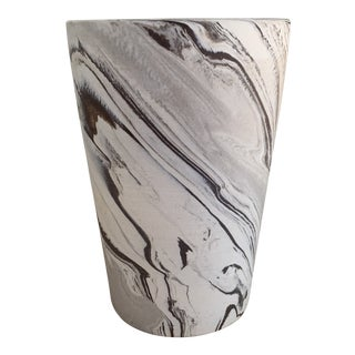 Modern Grey Marbled Ceramic Vase For Sale