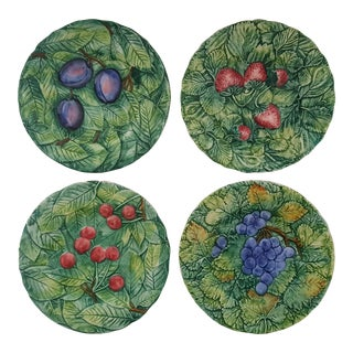 Vintage Italian Fruit Berry Leaf Majolica Plates - Set of 4
