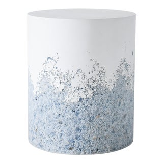 Hand Made Blue Calcite and White Plaster Drum, Side Table by Samuel Amoia For Sale