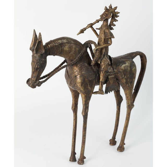 African Brass Sculpture of a Tribal Warrior on Horse For Sale - Image 9 of 9