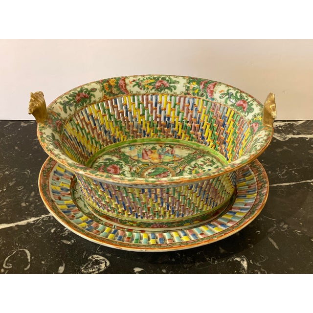 Famille Verte Pierced Bowl and Under Plate For Sale - Image 13 of 13