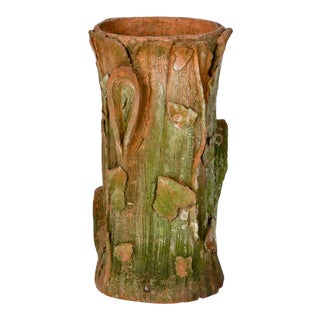 Art Nouveau Terra Cotta Tree Stump Planter or Umbrella Stand For Sale