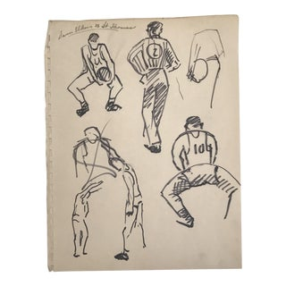 Mid-Century Modern Basketball Players Illustration For Sale