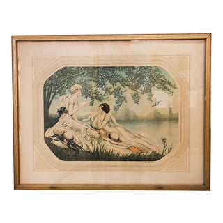 """Art Deco Aquatint """"Two Ladies Reading"""" by F C Henri For Sale"""