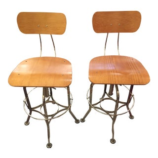 Modern Lillian August Maple & Chrome Swivel Bar Stools- A Pair For Sale