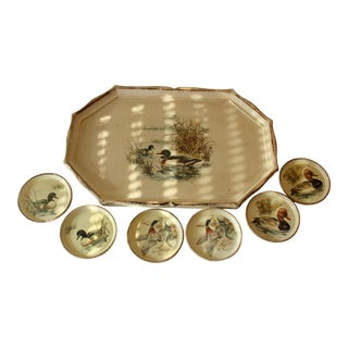 Vintage Wooden Florentine Tray With Coasters - Set of 7 For Sale