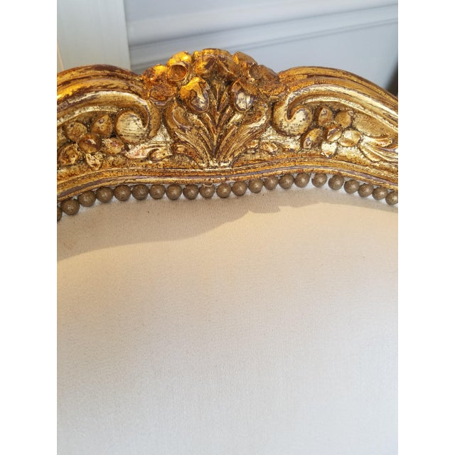 Fabric 1960s Louis XV Gilt Wood and Fortuny Silver Silk Blend Upholstered Bergere Chairs - a Pair For Sale - Image 7 of 12