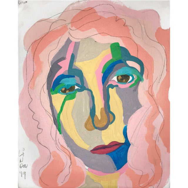 """Contemporary Abstract Portrait Painting """"Don't Let Her Get Away"""" - Framed For Sale - Image 9 of 9"""
