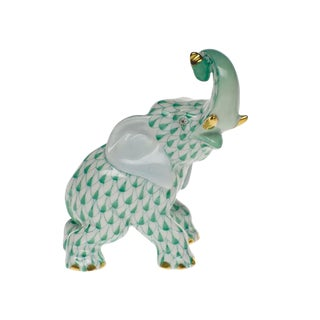Herend Elephant With Curled Trunk Green Fishnet Figurine With 24k Goldere For Sale