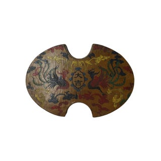 Chinese Distressed Yellow Lacquer Oval Phoenix Graphic Box For Sale