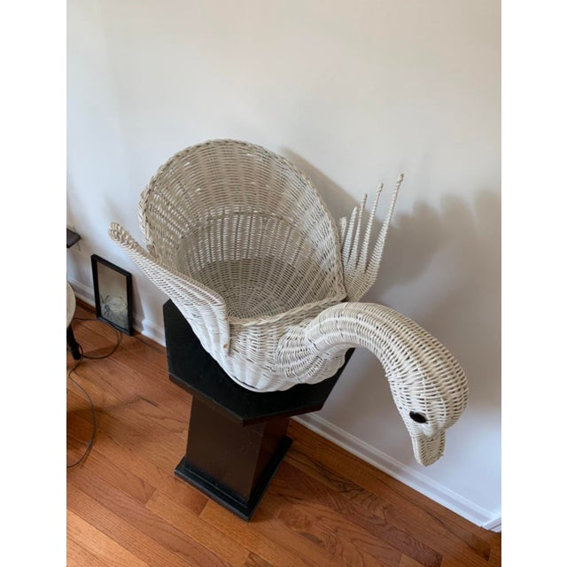 Boho Chic Vintage White Wicker Swan Basket For Sale - Image 3 of 11