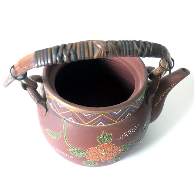 Asian Floral Enameled Clay Teapot For Sale - Image 4 of 8