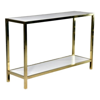 Italian White Marble and Brass Console Table For Sale