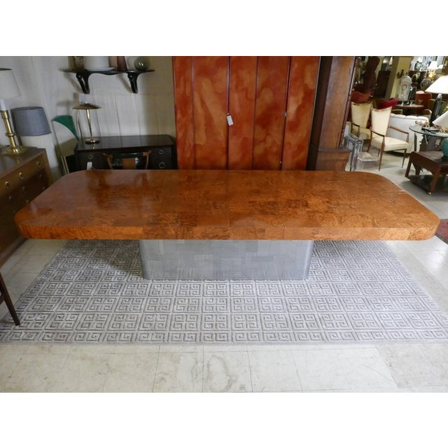 """1970s Monumental Signed Paul Evans Burled & Chrome """"Cityscape"""" Extension Dining Table For Sale - Image 5 of 13"""