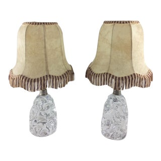 Baccarat Sculpted Crystal Table Lamps, Midcentury Circa 1950s - a Pair For Sale
