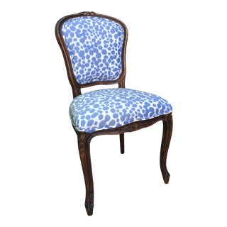 Vintage French Blue Spotted Reupholstered Side Chair For Sale