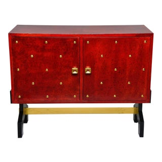 Mid Century Italian Red Parchment 2 Door Cabinet With Brass Studs For Sale