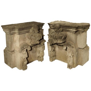 Pair of Late 18th Century Carved Limestone Architecturals From France For Sale