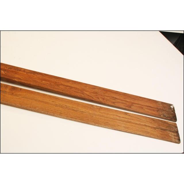 Vintage Rustic Wood Snow Skis - Pair - Image 4 of 11