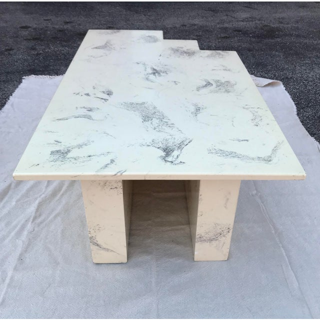 1970s Vintage Postmodern Geometric Shaped Marble Coffee Table For Sale - Image 5 of 13