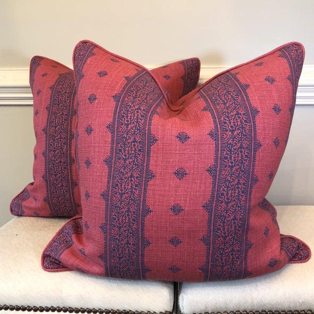 "Boho Chic Linen Stripe 22"" Pillows - A Pair - Image 2 of 7"