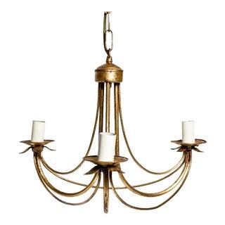 Italian Gilded Brass Chandelier For Sale