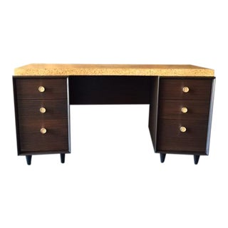 Paul Frankl for Johnson Furniture Mid Century Cork & Mahogany Desk For Sale