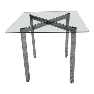 1960s Mid Century Modern Chrome X Base Side Table For Sale