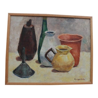 Alexander Abstract Still Life Bottles Painting For Sale