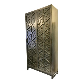 Noir Moroccan Motif Armoire For Sale