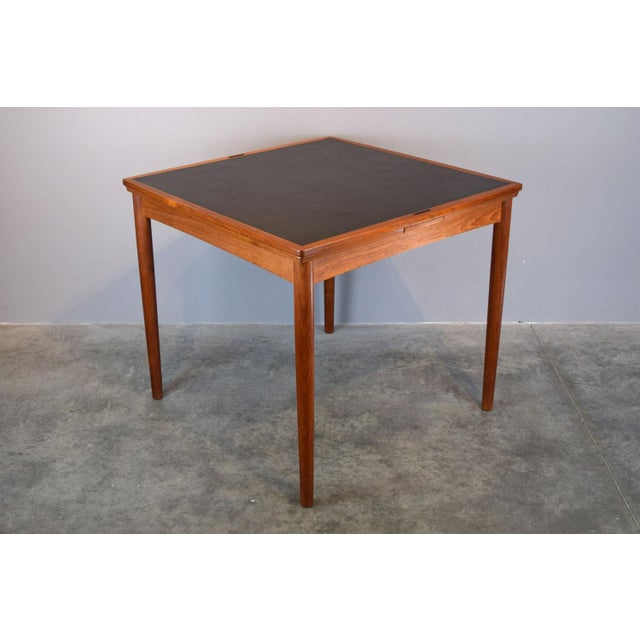 Leatherette Carlo Jensen Expanding Small Danish Teak Dining Table or Game Table For Sale - Image 7 of 13