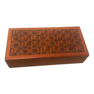 1970s Polish Folk Carved Wooden Box For Sale