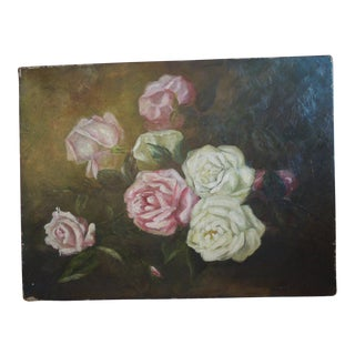 Antique 19th Century Roses on Canvas Oil Painting