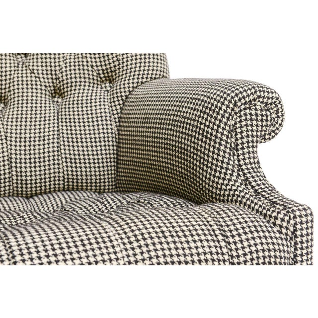 Beefy Edwardian Style Button Tufted Club Chairs in Houndstooth - Image 8 of 11