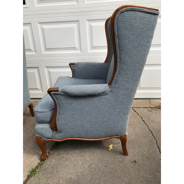 Vintage Light Blue Upholstered Bergere Chairs - A Pair - Image 2 of 10